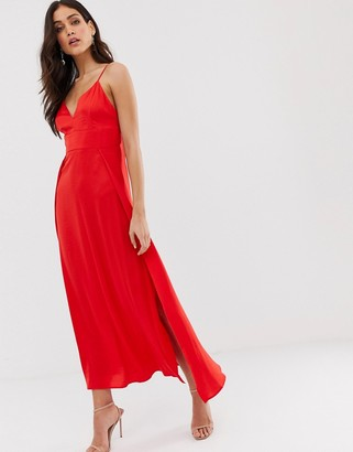 Vila satin cami maxi dress with side splits-Red