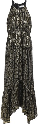 A.L.C. Gathered Metallic Fil Coupe Silk-blend Midi Dress