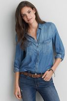 American Eagle Outfitters AE Double Pocket Chambray Shirt
