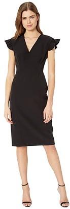 Milly Cady Beckett Ruffle Sleeve Dress (Black) Women's Clothing