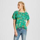 Xhilaration Women's Flutter Sleeve Top Green Juniors')