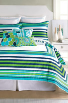 Trina Turk Huntington Stripe Duvet - Fresh Blue/Green