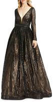 Mac Duggal 6-Week Shipping Lead Time Sequin Triangle Pattern Long-Sleeve A-Line Gown
