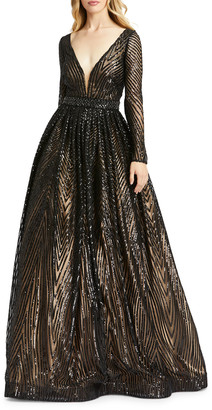 Mac Duggal Sequin Triangle Pattern Long-Sleeve A-Line Gown