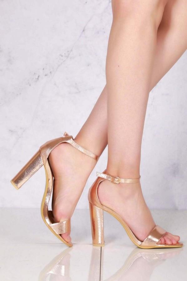 Gold Block Heel Sandals   Shop the