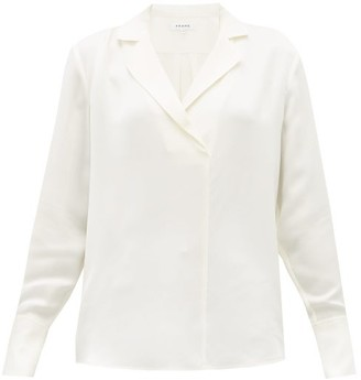 Frame Notch-lapel Collar Silk-crepe Blouse - Womens - Ivory