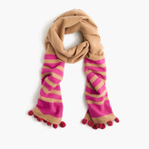 J.Crew Striped scarf with pom-poms