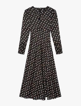 Maje Riava floral-print satin maxi dress