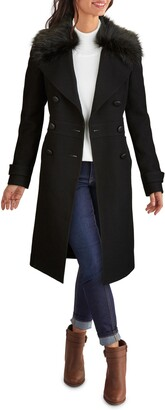 Kenneth Cole New York Wool Blend Coat with Removable Faux Fur Collar