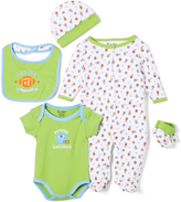 Sweet & Soft Green Football Five-Piece Layette Set - Infant