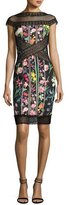 Tadashi Shoji Cap-Sleeve Paneled Floral Cocktail Dress, Multicolor