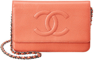 Chanel Pink Caviar Leather Timeless Cc Single Flap Wallet On Chain