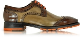 Forzieri Italian Handcrafted Chestnut and Light Brown Leather Oxford Shoe