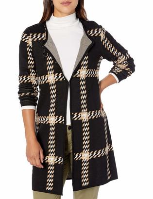 Kasper Women's Large Houndstooth Notch Collar Jacquard Sweater