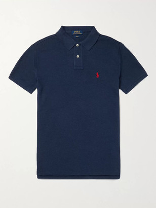 Polo Ralph Lauren Slim-Fit Logo-Embroidered Cotton-Pique Polo Shirt - Men - Blue