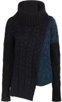 Stella McCartney Asymmetric Cable-knit Wool-blend Turtleneck Sweater - Black
