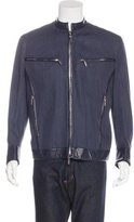 Versace Leather-Trimmed Chambray Jacket