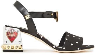 Dolce & Gabbana Embellished Leather-trimmed Polka-dot Cady Sandals