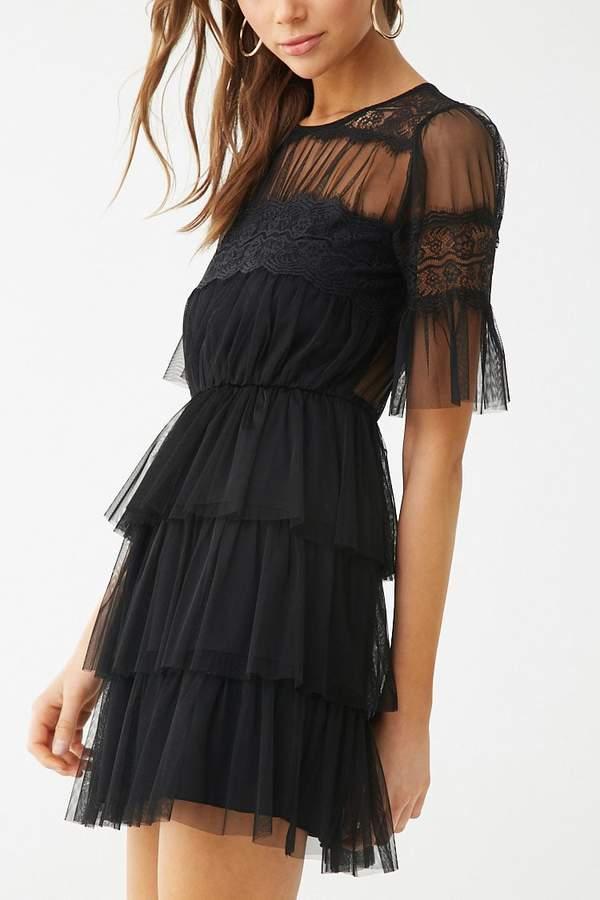 bf6b4e927d1 Sheer Tiered-Ruffle Dress