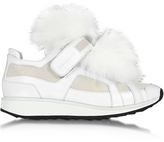 Pierre Hardy Runner White Leather and Fur Sneaker