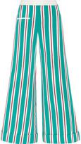 Rosie Assoulin Ribbon B Boy Striped Cotton-blend Grosgrain Pants - Teal