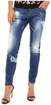 DSQUARED2 Blanket Patch Destroyed Wash Cool Girl Jeans in Blue Women's Jeans