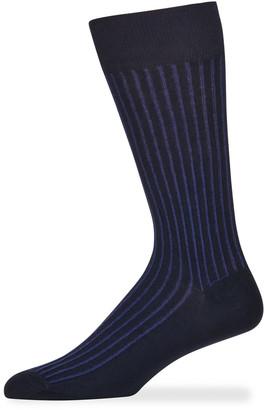 Marcoliani Milano Men's Reverso Pinstripe Cotton Socks