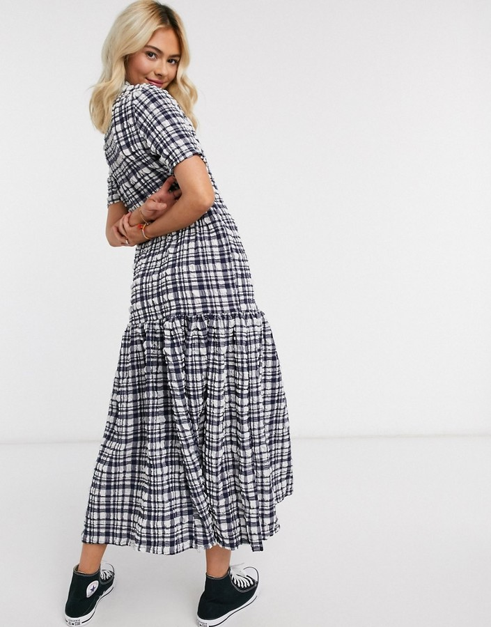 Monki Berna seersucker check dress in blue