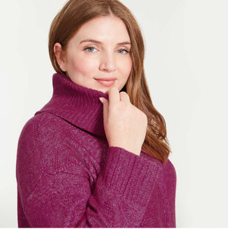 Joe Fresh Women+ Cable Knit Turtleneck Sweater, Fuchsia (Size 2X)