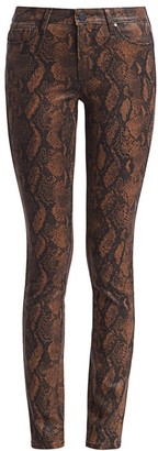 Paige Hoxton High-Rise Ultra Skinny Coated Snakeskin-Print Jeans