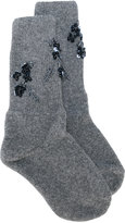 No.21 sequins trim socks - women - Polyester/Virgin Wool - M