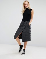 Monki Padded Wrap Midi Skirt