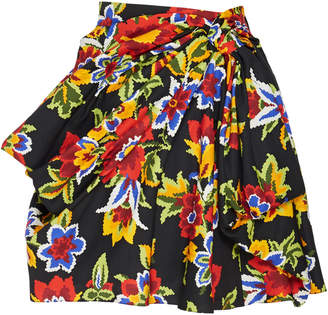 Carolina Herrera Floral-Print Cotton And Silk-Blend Mini Skirt