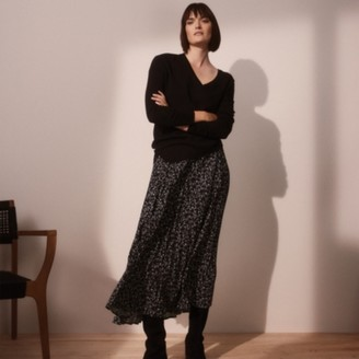 The White Company Printed Pleated Skirt, Black, 8