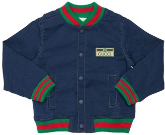 Gucci Logo Patch Cotton Denim Effect Jacket