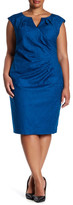 Adrianna Papell Side Pleat Surplice Jacquard Sheath Dress (Plus Size)