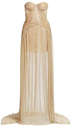 Gustavo Cadile Crinkled Strapless Metallic Gown