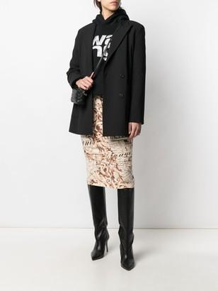 John Galliano Pre-Owned 2000s Baroque-Print Pencil Skirt