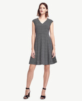 Ann Taylor Petite Dot Crepe V-Neck Flare Dress