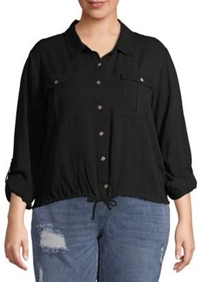 No Boundaries Juniors' Plus Size Cinched Button Front Utility Shirt