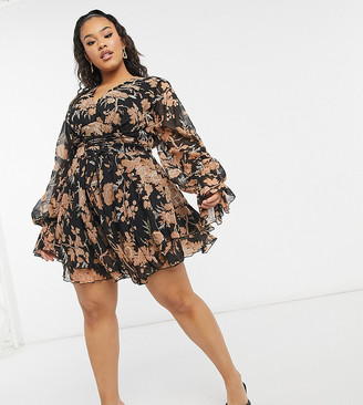 ASOS DESIGN Curve embrodiered floral mini dress with lace up detail