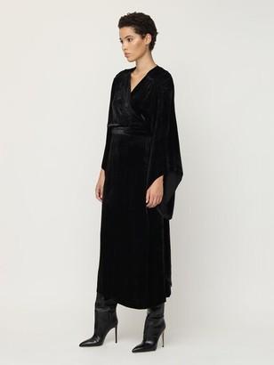 Maria Lucia Hohan Olina Silk Velvet Wrap Midi Dress