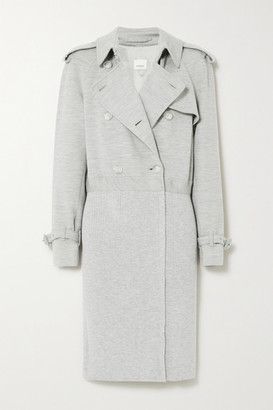 Burberry Double-breasted Paneled Wool-blend Jersey And Ribbed-knit Trench Coat - Gray