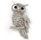 Avalaya Sparkling AB Crystal Owl Brooch ( Tone Metal) - 50mm L