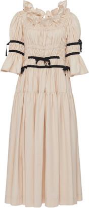Molly Goddard Tolley Ribbon-Detailed Smocked Cotton Midi Dress