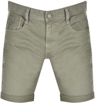 Replay Anbass Slim Fit Denim Shorts Green