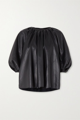 Frankie Shop Gathered Faux Leather Top - Black