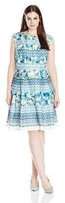 Julian Taylor Women's Plus Size Cap Sleeved Abstract Floral Printed Dress