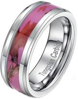 Tianyi 8mm Men's Tungsten Ring Pink Forest Camouflage Comfort Fit Wedding Band Size 13