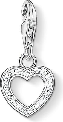 Thomas Sabo Women-Charm Pendant Heart Charm Club 925 Sterling Silver Zirconia white 0930-051-14